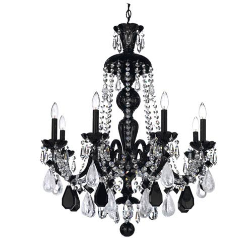 Schonbek  Hamilton Jet Black Eight-Light Jet Black Rock Crystal Chandelier, 28W x 35H x 28D