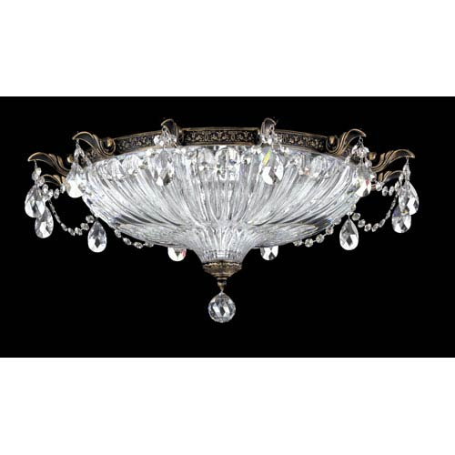 Schonbek  Milano Midnight Gild Four-Light Silver Shade Swarovski Strass Flush Mount Light, 22.5W x 10H x 22.5D