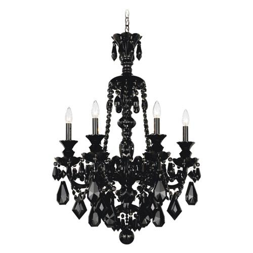 Schonbek  Hamilton Jet Black Six-Light Jet Black Heritage Handcut Crystal Chandelier, 22W x 33H x 22D