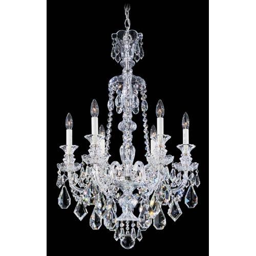 Hamilton Silver Six-Light Clear Heritage Handcut Crystal Chandelier, 22W x 33H x 22D