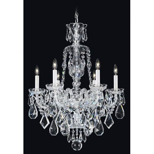 Schonbek  Hamilton Silver Six-Light Clear Heritage Handcut Crystal Chandelier, 22W x 29.5H x 22D