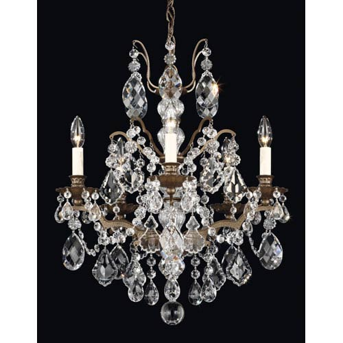 Bordeaux Textured Bronze Five-Light Clear Legacy Collection Chandelier, 20W x 23.5H x 20D