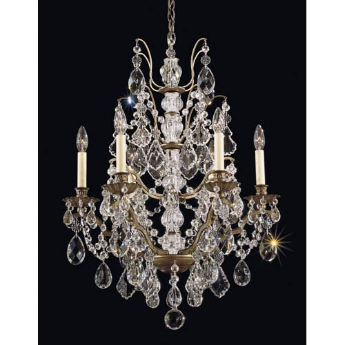 Schonbek  Bordeaux Etruscan Gold Six-Light Clear Legacy Collection Chandelier, 22W x 29H x 22D