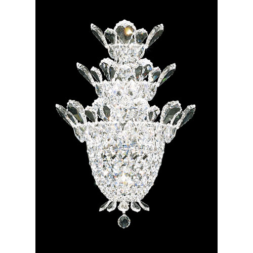 Schonbek  Trilliane Silver Four-Light Crystal Swarovski Strass Wall Sconce, 12.5W x 19H x 12.5D