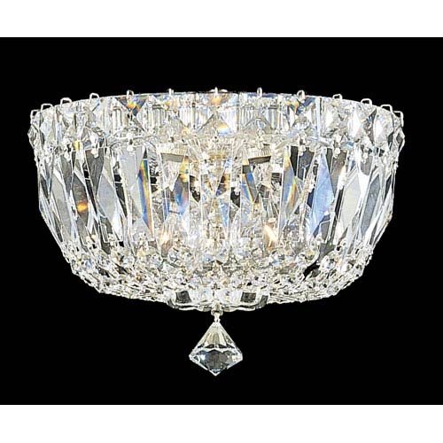 Schonbek  Petit Crystal Deluxe Silver Three-Light Clear Gemcut Flush Mount Light, 8W x 6H x 8D