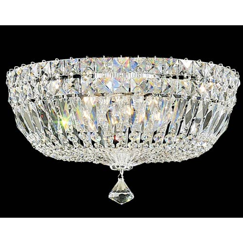 Petit Crystal Deluxe Silver Five-Light Clear Gemcut Flush Mount Light, 14W x 8H x 14D