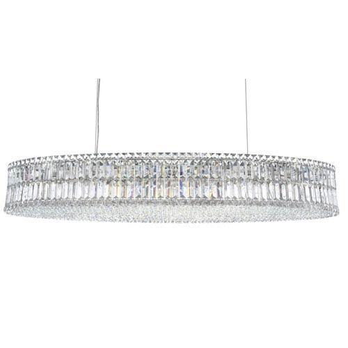 Schonbek  Plaza Stainless Steel 24-Light Clear Spectra Crystal Pendant Light, 22.5W x 7H x 22.5D