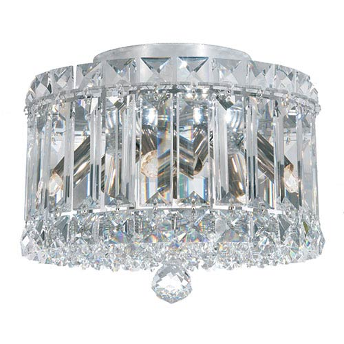 Plaza Stainless Steel Four-Light Flush Mount with Clear Spectra Crystal