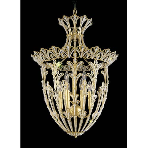 Rivendell New Heirloom Gold Nine-Light Crystal Swarovski Strass Pendant Light, 22W x 29H x 22D