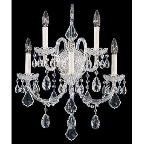 Olde World Silver Five-Light Crystal Swarovski Strass Wall Sconce, 18W x 23H x 18D