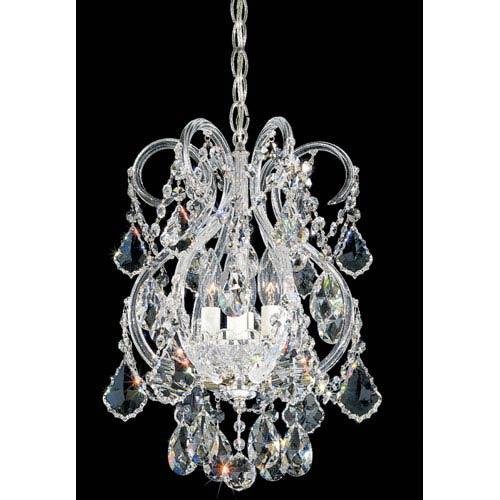 Olde World Silver Four-Light Crystal Swarovski Strass Chandelier, 11W x 17H x 11D