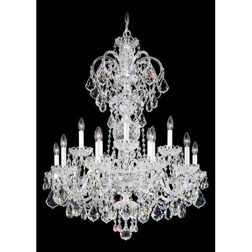 Olde World Silver 15-Light Crystal Swarovski Strass Chandelier, 32W x 40H x 32D