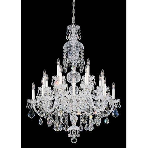 Schonbek  Olde World Silver 25-Light Crystal Swarovski Strass Chandelier, 35.5W x 46H x 35.5D