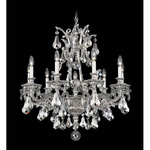 Schonbek  Sophia Roman Silver Nine-Light Silver Shade Heritage Handcut Crystal Chandelier, 28W x 30H x 28D