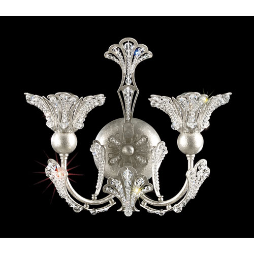 Rivendell New Antique Silver Two-Light Crystal Swarovski Strass Wall Sconce, 12W x 10H x 12D