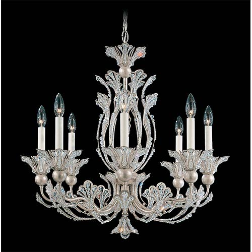 Schonbek  Rivendell Antique Silver Eight-Light Chandelier with Clear Swarovski Strass Crystal