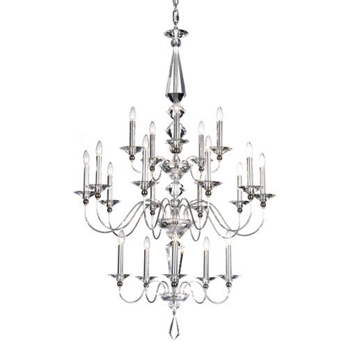 Schonbek  Jasmine Silver 20-Light Clear Optic Handcut Crystal Chandelier, 36W x 57H x 36D
