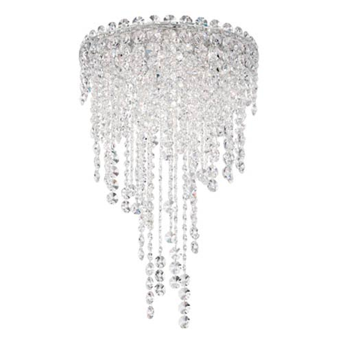 Schonbek  Chantant Stainless Steel Four-Light Round Short Flush Mount with Clear Heritage Crystal