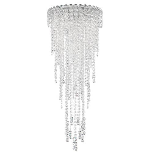 Chantant Stainless Steel Four-Light Round Medium Flush Mount with Clear Heritage Crystal