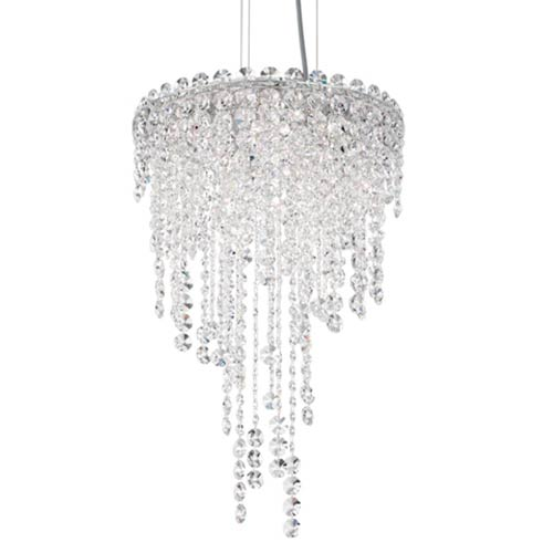 Schonbek  Chantant Stainless Steel Four-Light Round Short Pendant with Clear Heritage Crystal