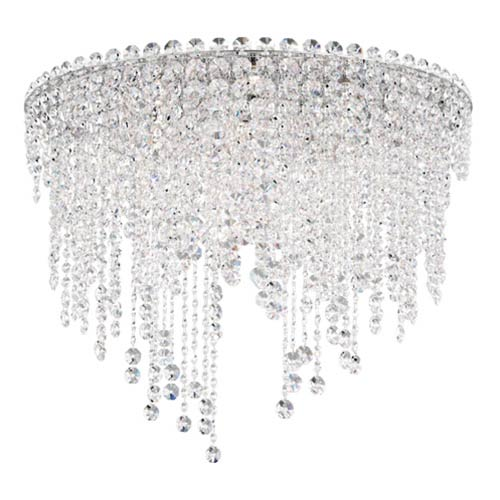 Schonbek  Chantant Stainless Steel Six-Light Round Short Flush Mount with Clear Heritage Crystal