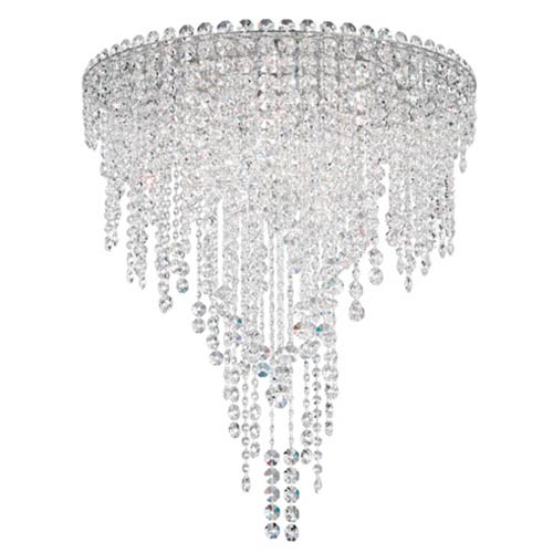 Schonbek  Chantant Stainless Steel Six-Light Round Medium Flush Mount with Clear Heritage Crystal