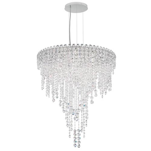 Schonbek  Chantant Stainless Steel Six-Light Round Medium Pendant with Clear Heritage Crystal