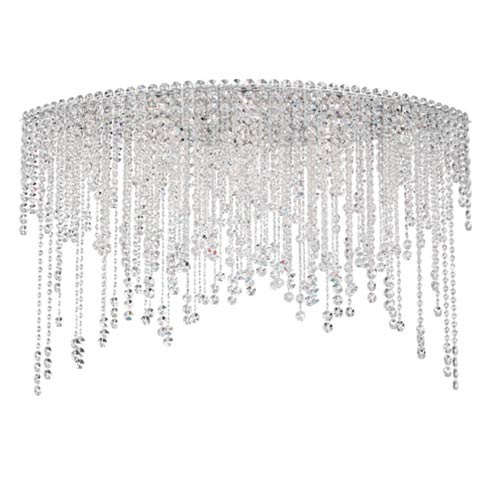 Schonbek  Chantant Stainless Steel Eight-Light Eye Medium Flush Mount with Clear Heritage Crystal