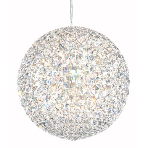 Da Vinci Stainless Steel 12-Light Crystal Swarovski Strass Pendant Light, 12W x 12H x 12D
