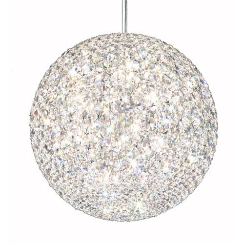 Da Vinci Stainless Steel 18-Light Crystal Swarovski Strass Pendant Light, 18W x 18H x 18D