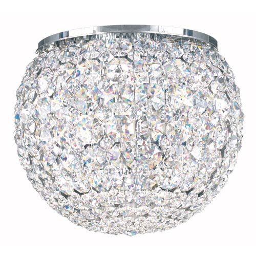 Da Vinci Stainless Steel Five-Light Clear Spectra Crystal Flush Mount Light, 10W x 8H x 10D
