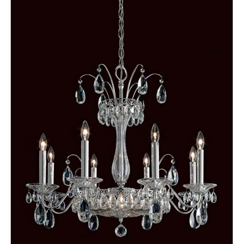 Schonbek  Fontana Luce Silver 10-Light Chandelier with Clear Heritage Crystal
