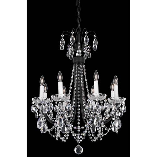 Schonbek  Lucia Ferro Black Eight-Light Clear Heritage Handcut Crystal Chandelier, 21.5W x 27H x 21.5D