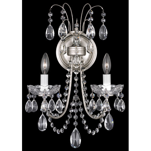 Schonbek  Lucia Antique Silver Two-Light Clear Heritage Handcut Crystal Wall Sconce, 11W x 18H x 11D