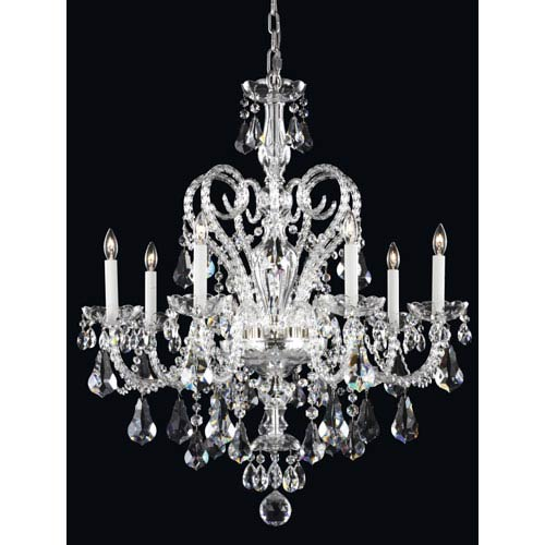 Novielle Polished Silver Seven-Light Crystal Swarovski Strass Chandelier, 29W x 35H x 29D