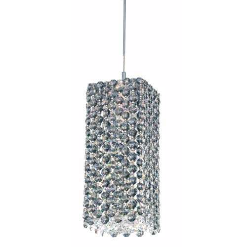 Refrax Stainless Steel One-Light Black Diamond Swarovski Strass Pendant Light, 5W x 9H x 5D