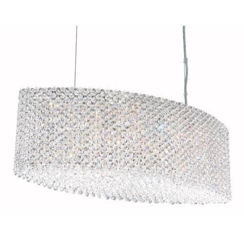 Schonbek  Refrax Stainless Steel 17-Light Clear Spectra Crystal Pendant Light, 28W x 9.5H x 28D