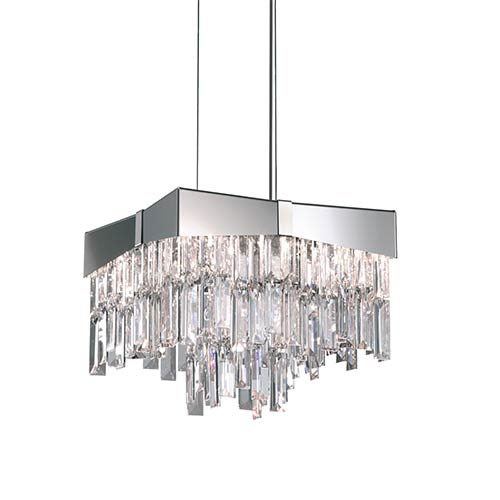 Schonbek  Riviera Stainless Steel Four-Light Small Bar Pendant with Clear Swarovski Strass Crystal