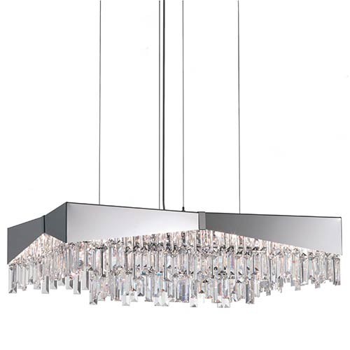 Schonbek  Riviera Brushed Stainless Steel Eight-Light Medium Rectangular Pendant with Clear Spectra Crystal