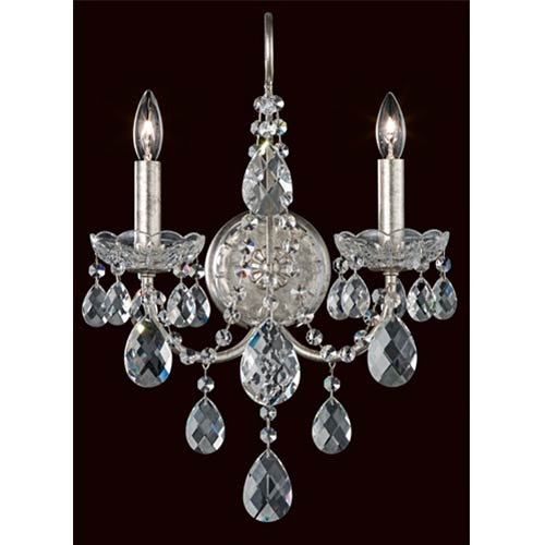 Schonbek  Sonatina Antique Silver Two-Light Wall Sconce with Clear Heritage Crystal