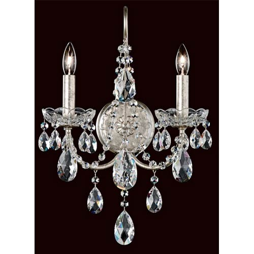 Schonbek  Sonatina Antique Silver Two-Light Wall Sconce with Clear Swarovski Strass Crystal