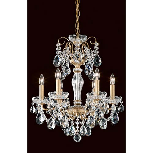 Schonbek  Sonatina Heirloom Gold Six-Light Mini Chandelier with Clear Heritage Crystal