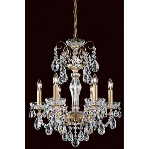 Sonatina Heirloom Gold Six-Light Mini Chandelier with Crystal Swarovski Strass Crystal
