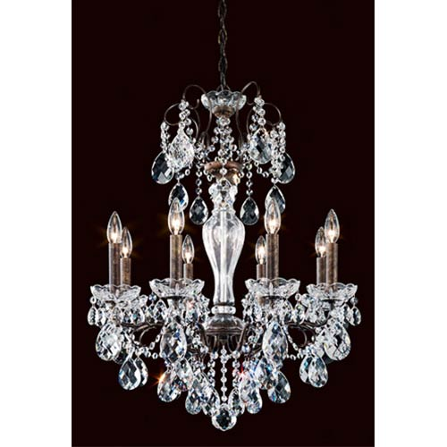 Sonatina Heirloom Bronze Eight-Light Chandelier with Clear Heritage Crystal