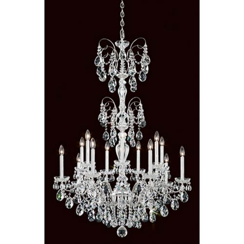 Schonbek  Sonatina Silver 14-Light Chandelier with Clear Heritage Crystal