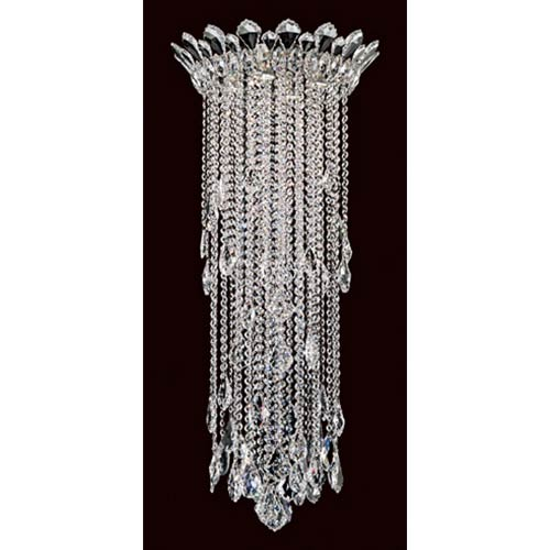 Schonbek  Trilliane Strands Stainless Steel Four-Light Round Medium Flush Mount with Clear Heritage Crystal