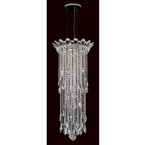 Schonbek  Trilliane Strands Stainless Steel Four-Light Round Medium Pendant with Clear Heritage Crystal