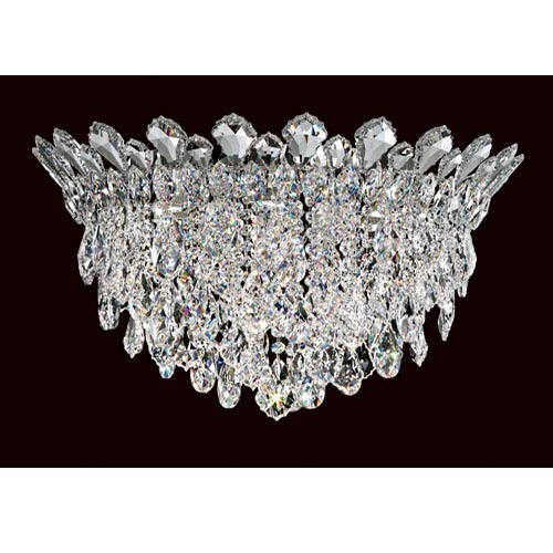 Trilliane Strands Stainless Steel Six-Light Round Short Flush Mount with Clear Heritage Crystal