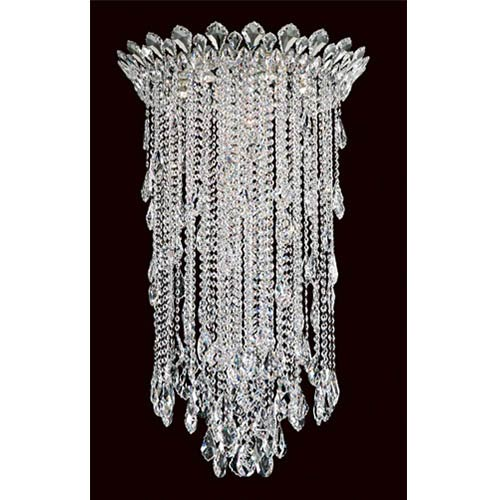 Schonbek  Trilliane Strands Stainless Steel Six-Light Round Medium Flush Mount with Clear Heritage Crystal