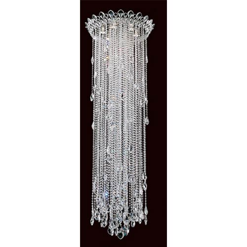 Schonbek  Trilliane Strands Stainless Steel Six-Light Round Long Flush Mount with Clear Heritage Crystal